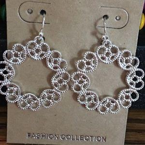 Heart hoop dangle earrings